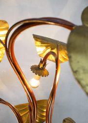midcentury modern floorlamp Italian design rhubarb brass leaf vloerlamp