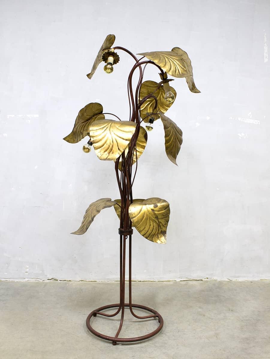 Midcentury Gouden Vloerlamp Brass Rhubarb Leaf Floor Lamp