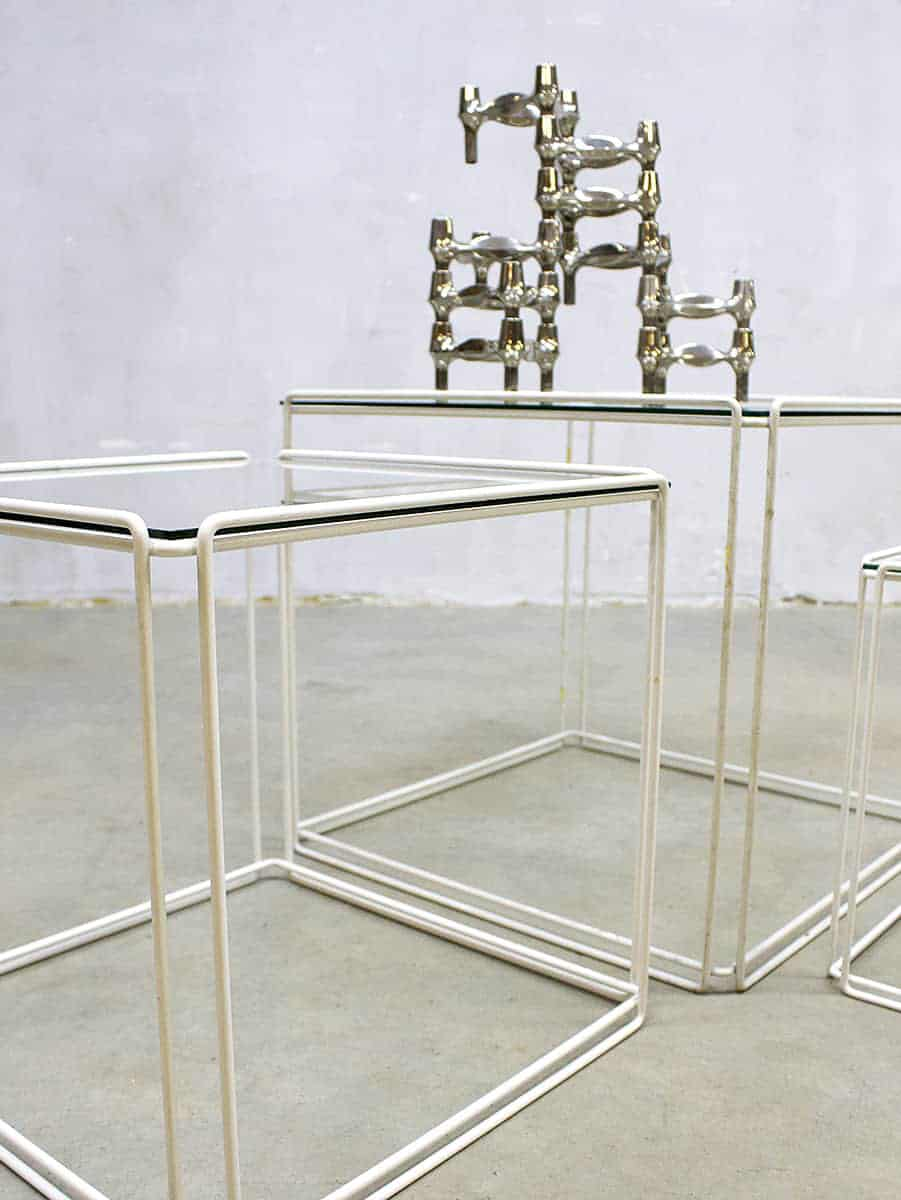 3 Vintage Bijzettafeltjes.Vintage Nesting Tables Mimiset Kubus Bijzettafeltjes Isocele Max Sauze
