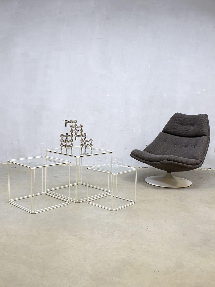 Design Glazen Bijzettafeltjes.Vintage Glazen Bijzettafeltjes Industrieel Max Sauze