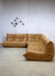 Midcentury vintage design camel leather lounge sofa Togo Ligne Roset