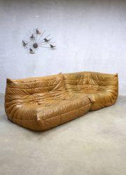 Midcentury vintage design camel leather lounge bank Togo Ligne Roset Michel Ducaroy