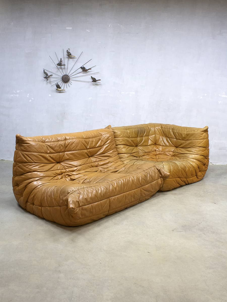 Camel Leren Bank.Midcentury Vintage Design Camel Leather Lounge Sofa Togo Ligne Roset