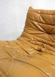 Vintage design camel leather lounge bank Togo Ligne Roset Michel Ducaroy