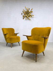 vintage velours club fauteuil cocktail stoel Deens Danish cocktail chair velvet yellow