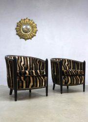 Franse vintage art deco armchairs lounge chair velvet safari print