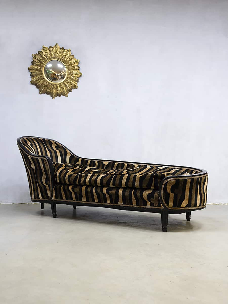 French Vintage Art Deco Velvet Chaise Longue Lounge Set