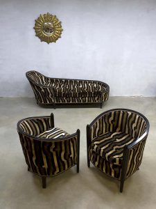 French vintage Art Deco velvet chaise longue lounge set club chairs