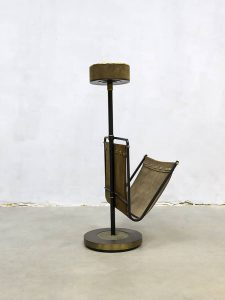 Vintage sixties brass suede magazine rack & ashtray krantenbakmet asbak