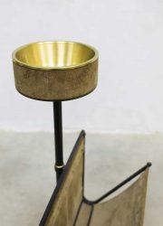 vintage magazine rack lectuurbak asbak ashtray brass metal design sixties