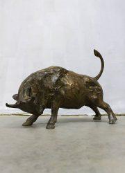 Vintage charging bronze Bull sculpture Pierre Chenet bronzen stier