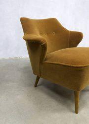 vintage jaren 50 retro cocktail stoel clubfauteuil oker velvet
