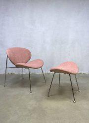 retro schelpstoel roze clubchair lounge fauteeuil pink velvet