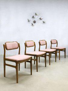 Danish vintage teak dinner chairs eetkamer stoelen Johannes Andersen Uldum Møbelfabrik