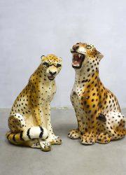 Vintage porcelain ceramic leopard Italy porselein luipaard