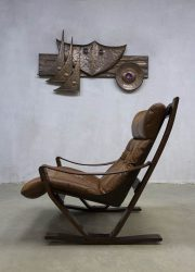 vintage leren lounge fauteuil schommelstoel leather armchair rocking chair Scandinavian design Westnova
