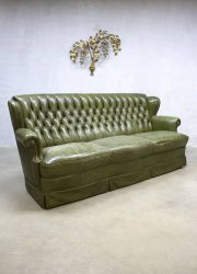 vintage leren lounge bank chesterfield, jaren 60 leather green sofa chesterfield sixties