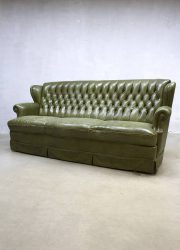 vintage leather sofa chesterfield leren lounge bank groen gecapitonneerd
