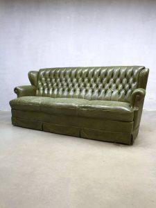 Gecapitonneerde Leren Bank.Vintage Leather Sofa Chesterfield Leren Lounge Bank Groen