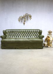 Leren Chesterfield Bank.Green Vintage Leren Chesterfield Lounge Bank Green Leather Sofa