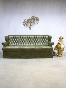 Green vintage leren chesterfield lounge bank green leather sofa 'Botanic'
