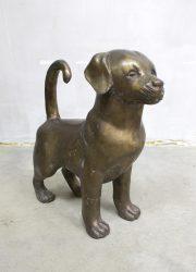 Vintage bronze dog sculpture bronzen sculptuur beeld hond puppy
