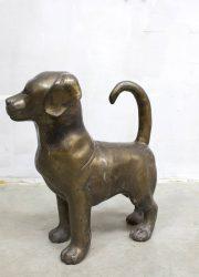 Vintage bronze dog puppyhond brons statue sixties seventies copper deco
