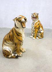 Midcentury keramische tijgers Italian ceramic tigers cheeta