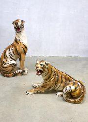 Vintage keramische tijgers Italian ceramic tigers cheetah