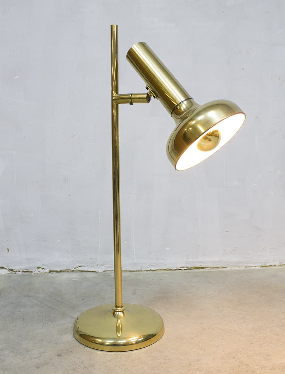 Vintage gouden bureaulamp brass golden desk lamp table lamp Koch & Lowy