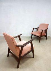 vintage design lounge chair armchair Danish midcentury modern retro pink velvet