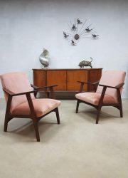 Vintage Danish design lounge fauteuils armchairs lounge chair pink velvet