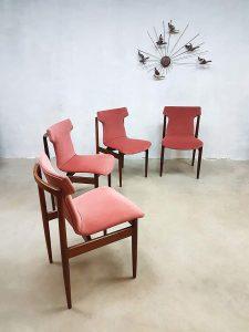Vintage pink velvet dinner chairs eetkamerstoelen Inger Klingenberg Fristho