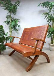Zeldzame vintage tuigleren bank folding sofa Ecuador Angel Pazmino