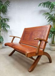 rare midcentury modern leather folding sofa Peru Ecuador Pazmino
