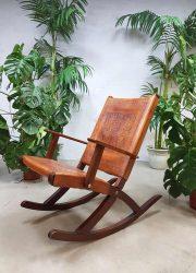 vintage tuigleren schommelstoel Peru Ecuador safari stijl