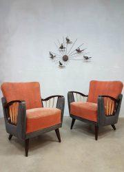 Midcentury modern armchairs Art deco lounge fauteuils fifties
