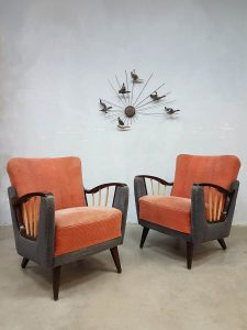 Midcentury modern armchairs Art deco lounge fauteuils fifties