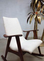 Vintage schommelstoel rocking chair Webe Louis van Teeffelen Deense stijl Danish style Scandinavian style loft sixties jaren 60 retro midcentury modern design