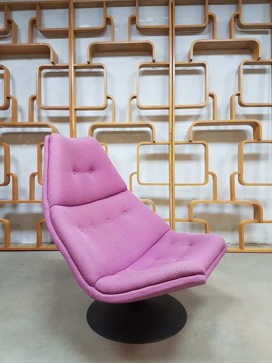 Paarse Draai Fauteuil.Vintage Sixties Draaifauteuil Swivel Chair Artifort Geoffrey