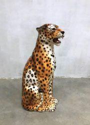 Vintage ceramic cheetah tiger keramische tijger Italian design