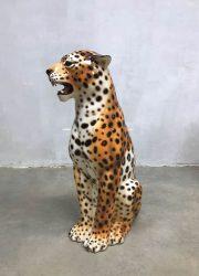 vintage keramische cheetah beeld tijger luxe hollywood regency