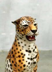 vintage design ceramic animal statue tiger cheetah made in Italy