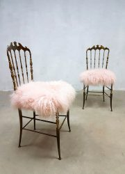 Midcentury modern brass chairs stoel eetkamerstoel Chiavari Italian design