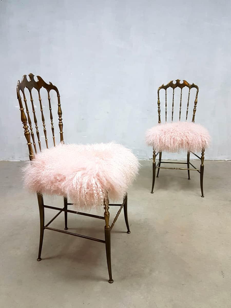 Midcentury Modern Brass Chairs Stoel Eetkamerstoel