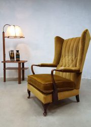 vintage jaren 50 oorfauteuil art deco fauteuil lounge stoel fifties veltvel wingback chair