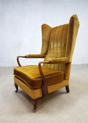 Vintage design oorfauteuil French wingback chair lounge chair