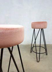vintage rose velours barkrukken kruk stool barstool pink velvet