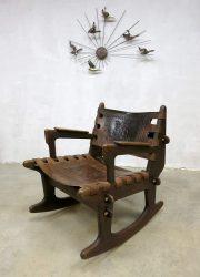 vintage leather schommelstoel rocking chair midcentury modern