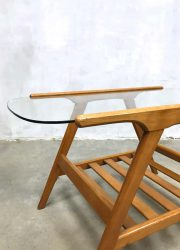midcentury modern coffee table beech wood glass Danish design
